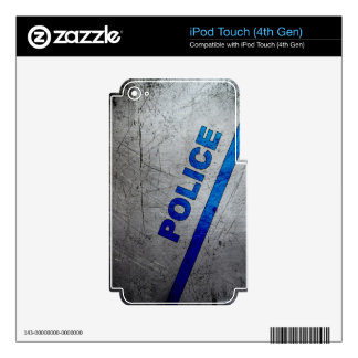 Police - Blue on scratched metal Skins For iPod Touch 4G