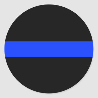 Police Blue Thin Line Classic Round Sticker