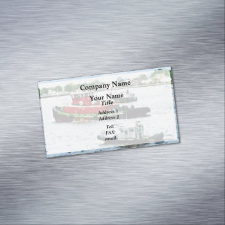 Police Boat and Two Tugboats Business Card Magnet