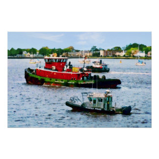 Police Boat and Two Tugboats Poster