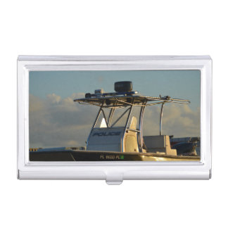 police boat bridge piece officer image case for business cards