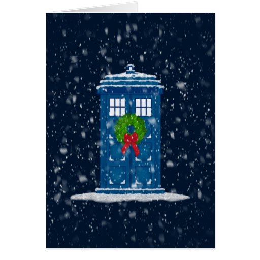 """""""Police Box in Christmas Snow"""" Greeting Card"""