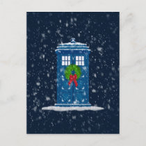 """Police Box in Christmas Snow"" Holiday Postcard"