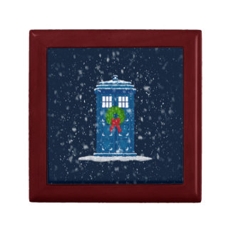 """Police Box in Christmas Snow"" Keepsake Box"