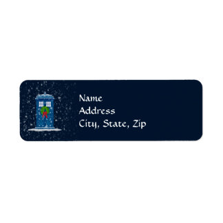 """""""Police Box in Christmas Snow"""" Label"""