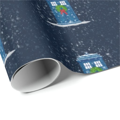"Police Box in Christmas Snow"" (Large Pattern) Wrapping Paper"