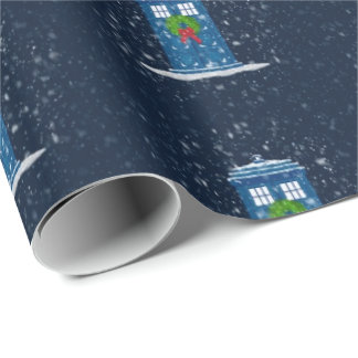 """Police Box in Christmas Snow"" (Large Pattern) Gift Wrapping Paper"