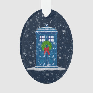 """""""Police Box in Christmas Snow"""" Ornament"""