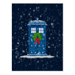 christmas, wreath, police box, phone box, public