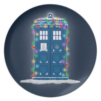 """Police Box with Christmas Lights"" Dinner Plate"
