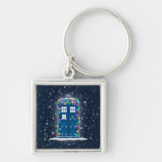 """Police Box with Christmas Lights Snow"" Keychain"