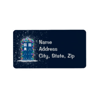 """Police Box with Christmas Lights & Snow"" Label"