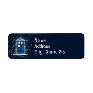 """Police Box with Christmas Lights & Snow"" Label"