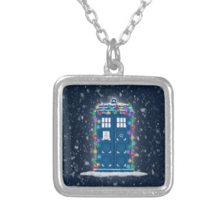 """""""Police Box with Christmas Lights & Snow"""" Necklace"""