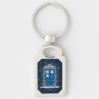 """Police Box with Christmas Lights Snow"" Key Chains"
