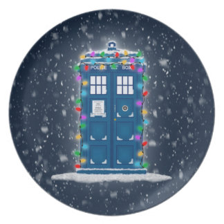 """Police Box with Christmas Lights & Snow"" Party Plates"