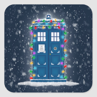 """Police Box with Christmas Lights & Snow"" Square Sticker"