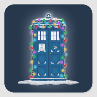 """""""Police Box with Christmas Lights"""" Square Stickers"""