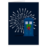 """""""Police Box with Christmas Wreath"""" Greeting Card"""