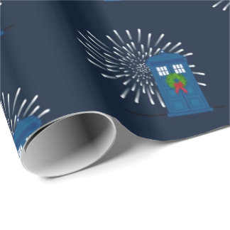 """Police Box with Christmas Wreath"" (Large Pattern) Gift Wrapping Paper"
