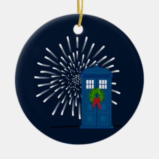 """Police Box with Christmas Wreath"" Ornaments"