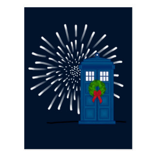 """Police Box with Christmas Wreath"" Postcard"