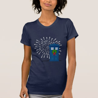 """Police Box with Christmas Wreath"" Shirts"