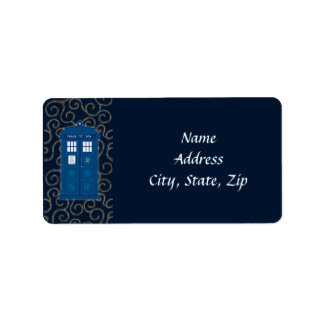 """Police Box with Swirls"" Label"