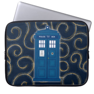 """Police Box with Swirls"" Laptop Sleeve"