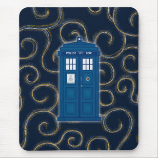 """""""Police Box with Swirls"""" Mouse Pad"""