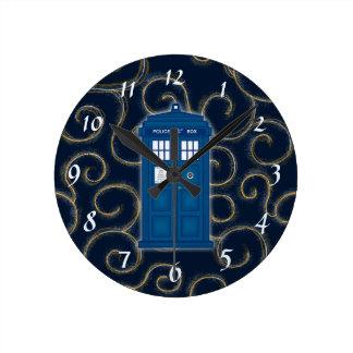 """Police Box with Swirls"" Round Wall Clock"