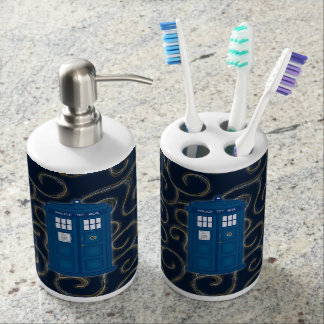 """Police Box with Swirls"" Soap Dispenser & Toothbrush Holder"