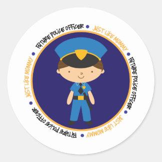 Police Boy like Mommy Classic Round Sticker