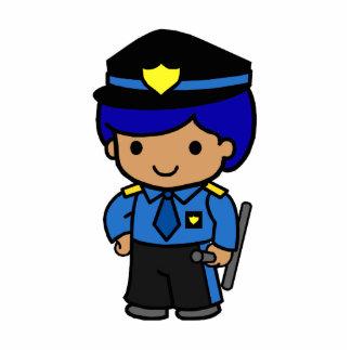 Police Boy Standing Photo Sculpture