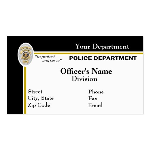 Police business card zazzle for Police business card