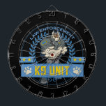 "Police Canine Unit Dartboard<br><div class=""desc"">A muscular police K9 dog in one tough law enforcement design! Blue and yellow police colors with the toughest dog cop you&#39;ll ever see! Police K9 Unit text,  dogs paws and police stars!</div>"