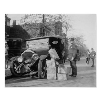 Police Capture Bootleggers Car, 1922 Posters