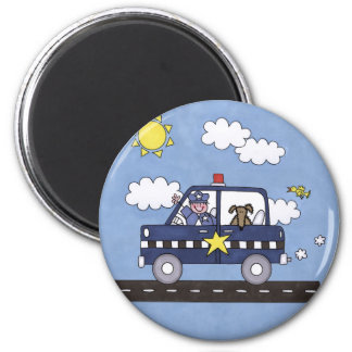 Police Car 2 Inch Round Magnet
