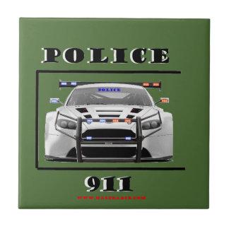 Police_Car_911 Azulejo Cuadrado Pequeño