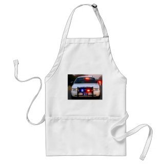 POLICE CAR - all lit up Adult Apron