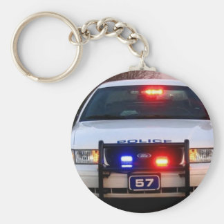 POLICE CAR - all lit up Basic Round Button Keychain