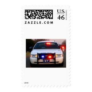 POLICE CAR - all lit up Postage Stamp