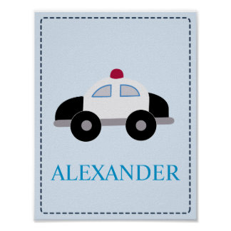 POLICE CAR Baby boy's room nursery Art Print