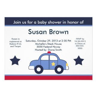 Police Car Baby Shower Invitation