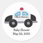 Police Car Baby Shower or Birthday Favor Sticker