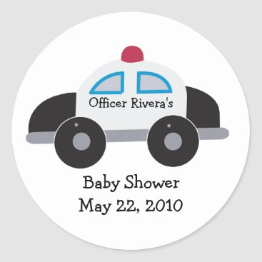 Toddler & Baby themed Police Car Baby Shower or Birthday Favor Sticker