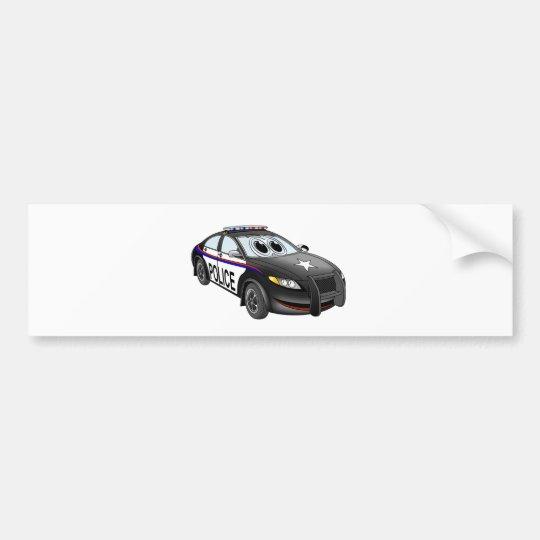 Police Car BW Cartoon Bumper Sticker