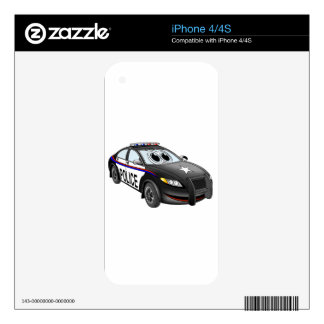 Police Car BW Cartoon iPhone 4 Skins