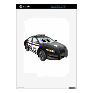 Police Car BW Cartoon Decal For The iPad 2