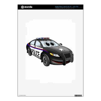 Police Car BW Cartoon Skin For iPad 3